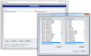 The SharpKeys user interface demonstrating a remap from Right Ctrl to Left Ctrl.