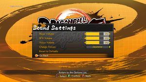 In-game sound settings.
