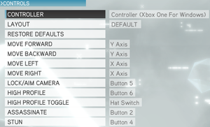 In-game button map settings (multiplayer).