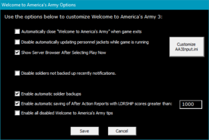 """Launcher options menu (can be accessed by right-clicking the icon in the upper left corner of the launcher window border and selecting """"Options"""")."""