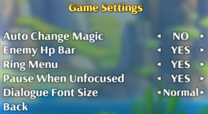 In-game game settings.