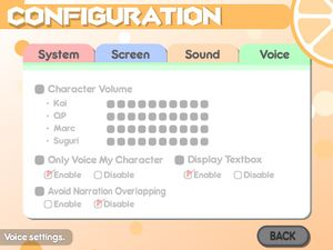 Voice settings. Can only be changed if voice pack DLC is installed.