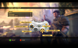In-game gamepad stick layout settings.
