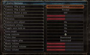 Game option menu.