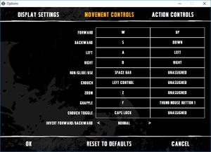 External movement commands key map settings.