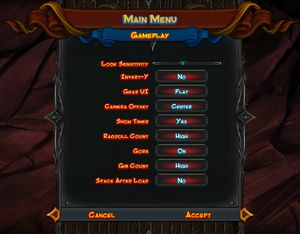 Gameplay settings including options effecting graphical quality.