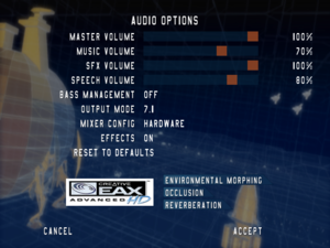 Audio settings, with hardware acceleration and EAX support.
