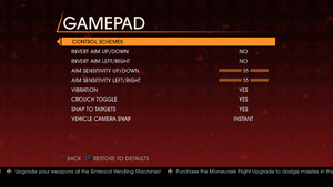 In-game control settings (for gamepad).