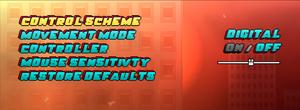 Controls settings menu.