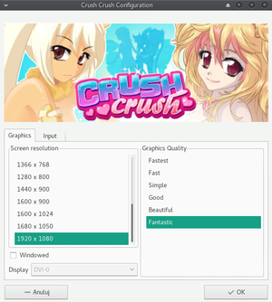 General settings before launching the game.