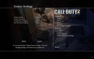 In-game texture settings.