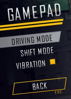 Gamepad options.