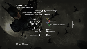 The gamepad layout for Batman: Arkham City