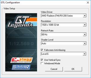 Video settings (GTLConfig.exe).