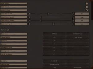 Control settings and keybindings.