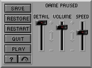 In-game options menu (1992 VGA remake)