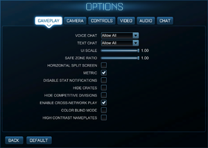 In-game general settings.
