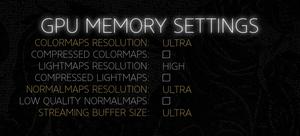 Custom VRAM settings.