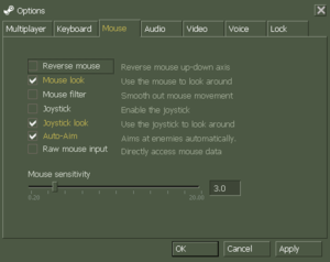 In-game mouse/joystick settings.