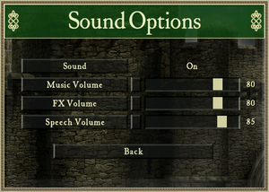 In-game audio settings (Stronghold HD).