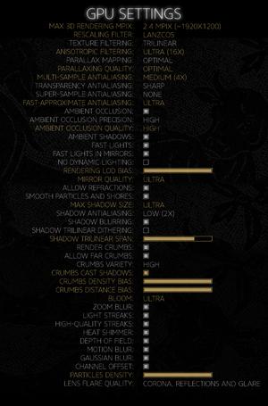 Custom GPU settings.